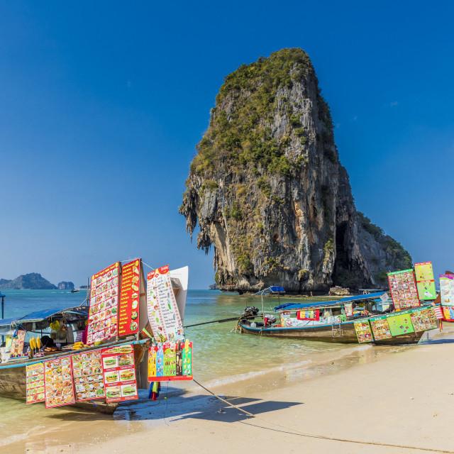 """Food stalls on long tail boats on Phra Nang Cave Beach on Railay in Ao Nang,..."" stock image"