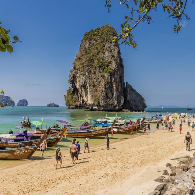 """Long tail boats on Phra Nang Cave Beach on Railay in Ao Nang, Krabi Province..."" stock image"