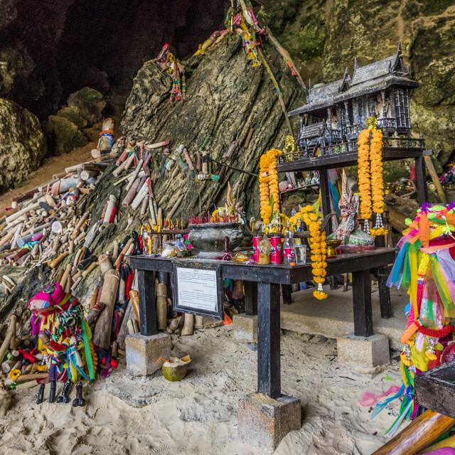"""Phra Nang Princess Cave, a shrine to fertility, on Railay in Ao nang, Krabi..."" stock image"