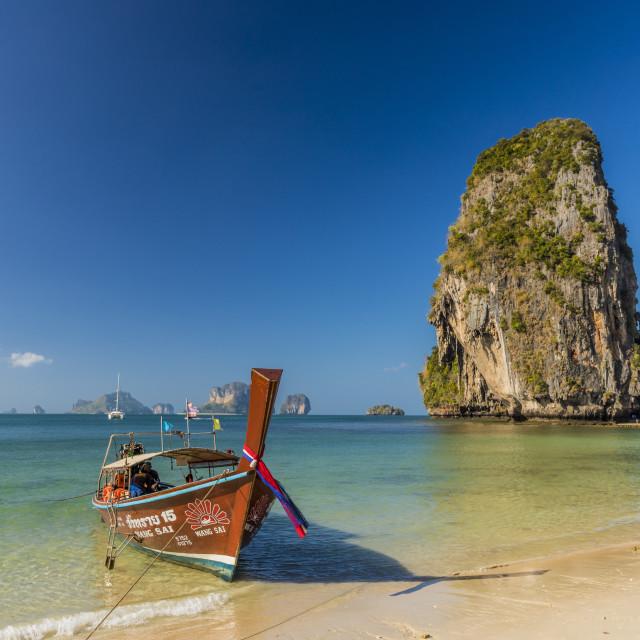 """Long tail boat on Phra Nang Cave Beach on Railay in Ao Nang, Krabi Province ,..."" stock image"