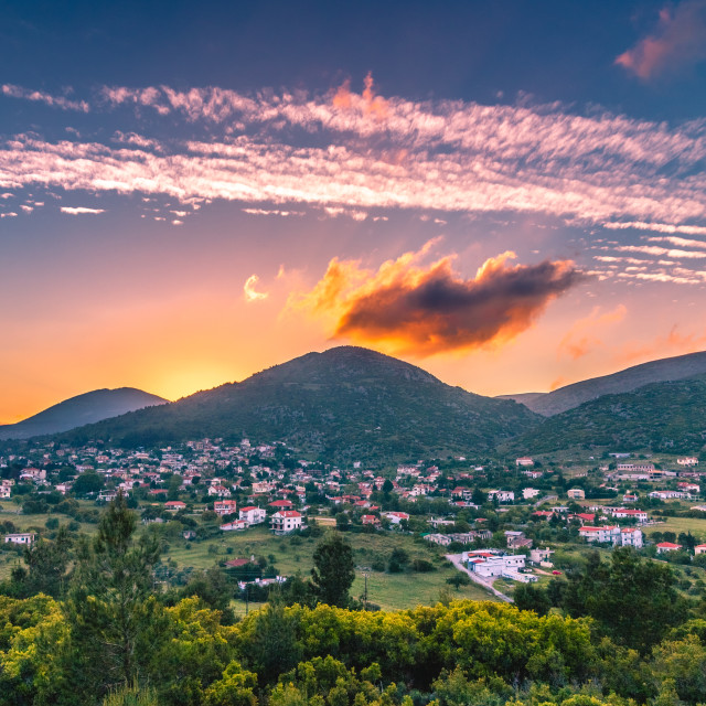 """Sunset in the village"" stock image"
