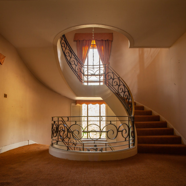 """""""Staircase in an abandoned manor"""" stock image"""