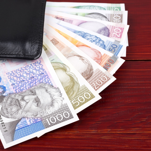 """Full set of Croatian Kuna in the black wallet"" stock image"
