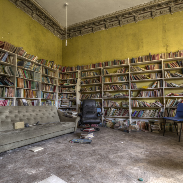 """""""Abandoned library"""" stock image"""