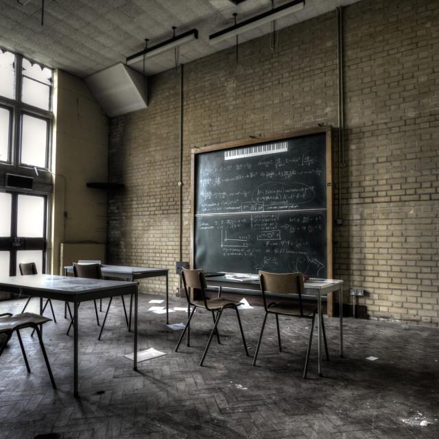 """""""Abandoned classrom"""" stock image"""