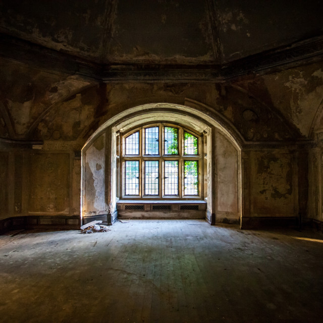 """""""Window in an abandoned manor"""" stock image"""