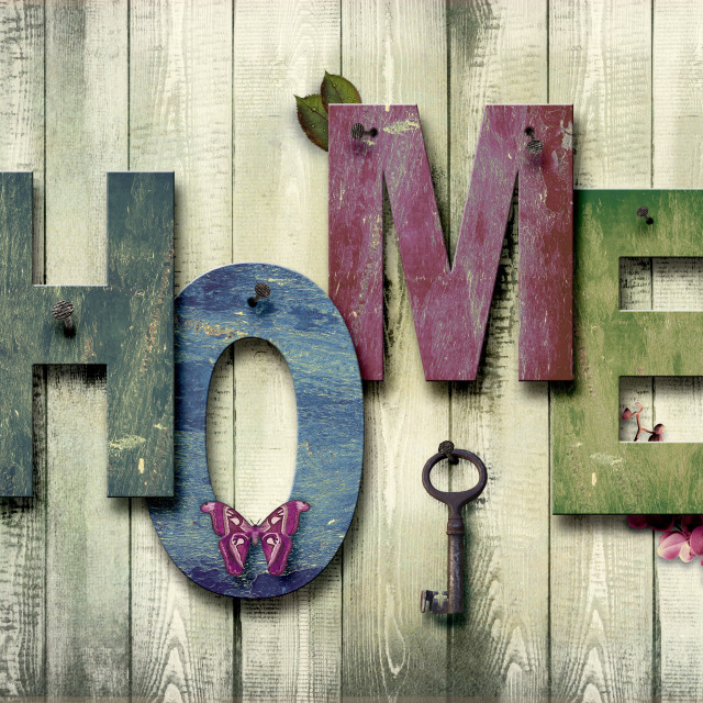 """""""There is no place like home. Wood home sign."""" stock image"""