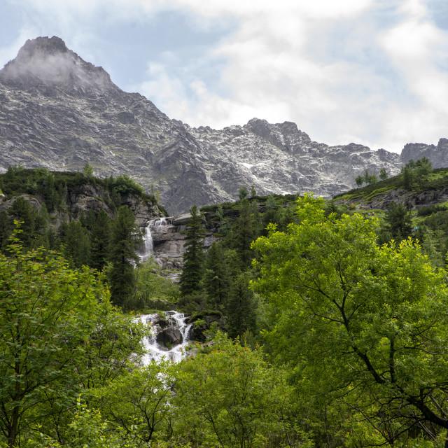 """close up on waterfall at Czarny Staw, Tatra Mountains, poland"" stock image"
