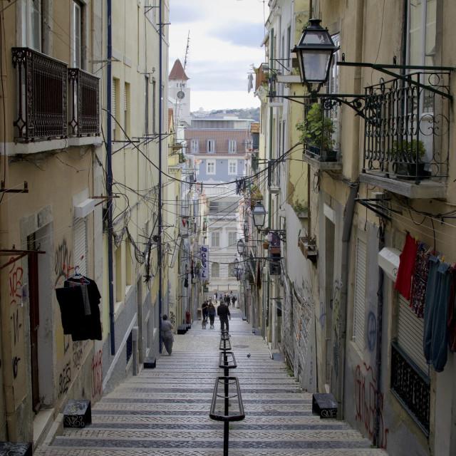 """A Lisbon street scene"" stock image"