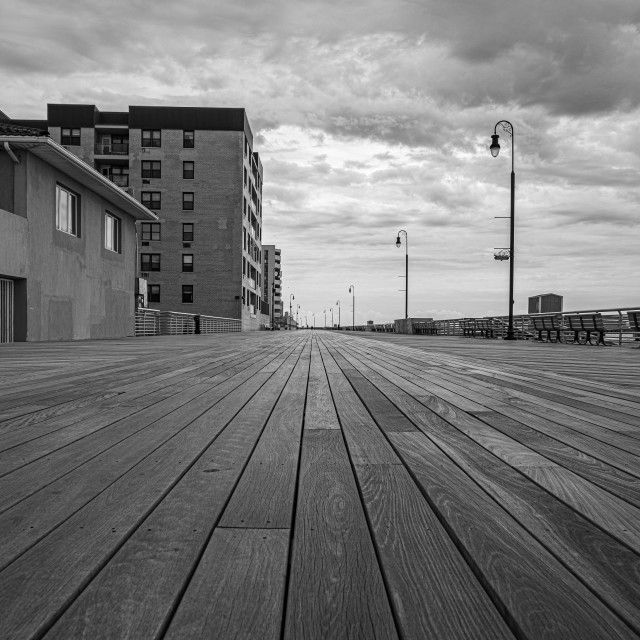 """Empty Long Island Boardwalk"" stock image"