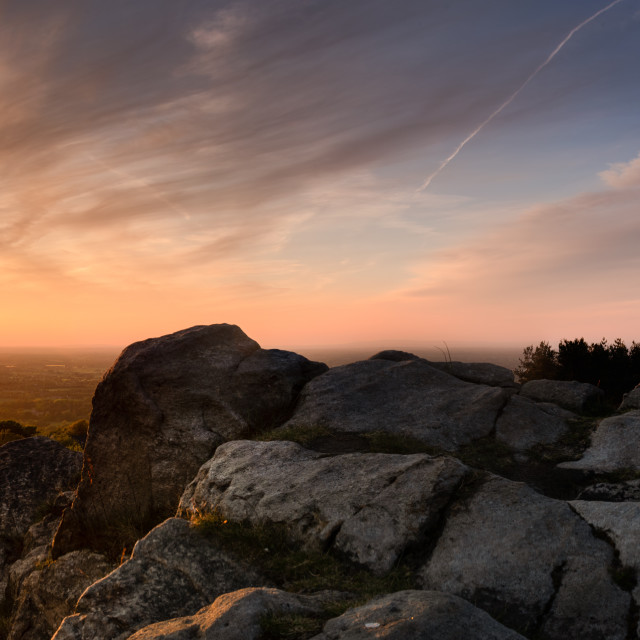 """Mow Cop Castle, May Sunset"" stock image"