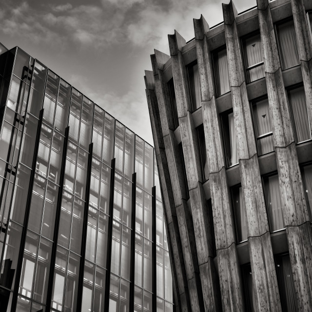 """""""A strange juxtaposition of two buildings"""" stock image"""