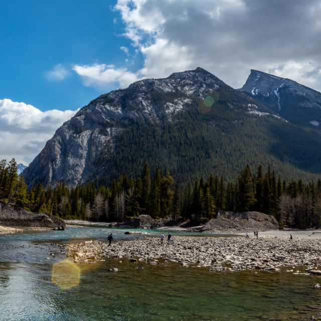 """""""Mount Rundle from the river"""" stock image"""