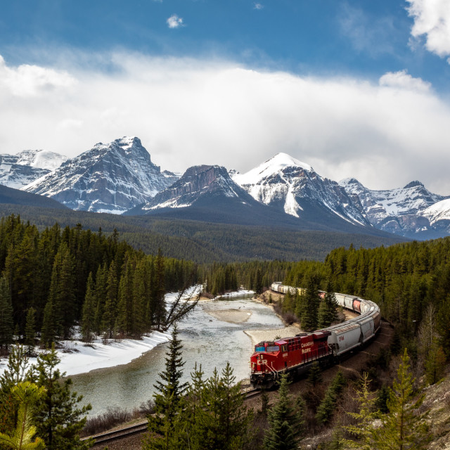 """Morant's Curve with Canadian Pacific Train"" stock image"
