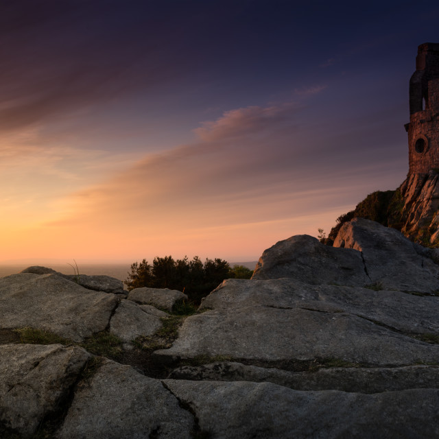 """Sunset, Mow Cop Castle, near Stoke-on-Trent"" stock image"