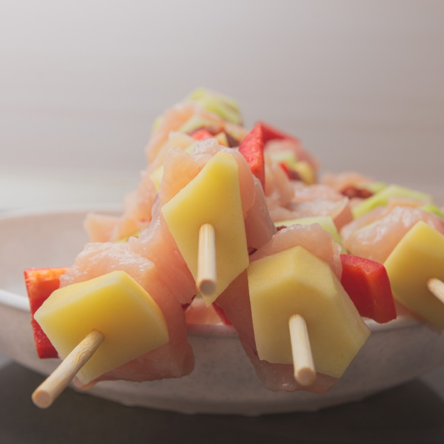 """Raw Shashlik Skewers"" stock image"