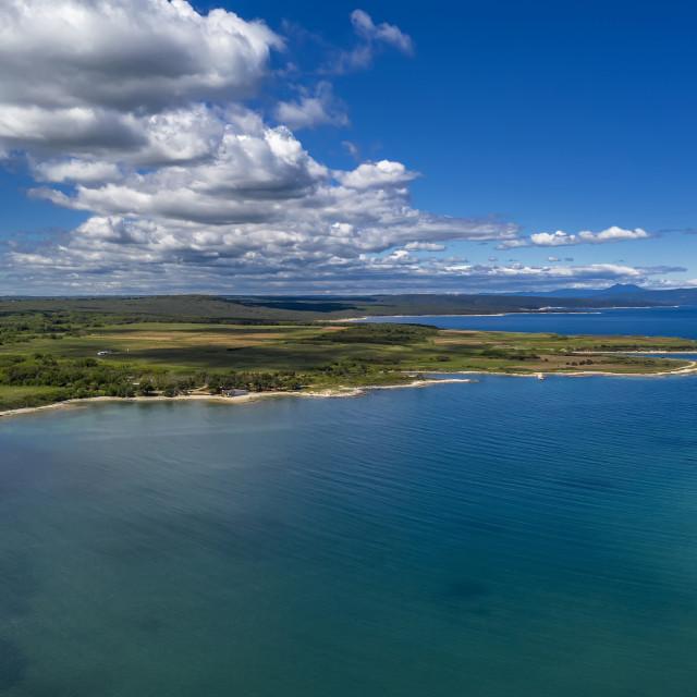 """Aerial shot of Kuje lagoon"" stock image"