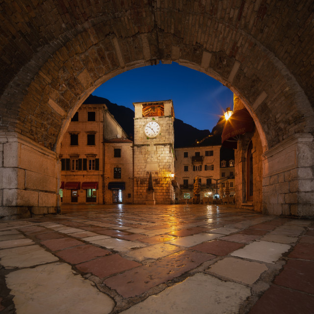 """The Clock Tower in Kotot Montenegro at 4:49am"" stock image"