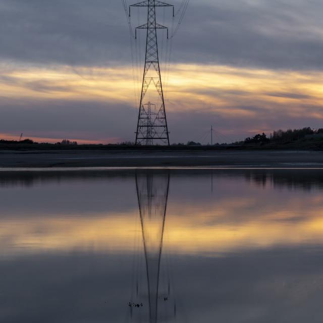 """Pylon reflection on the Loughor estuary"" stock image"