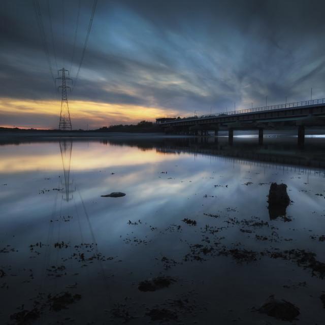 """Loughor estuary rail bridge"" stock image"