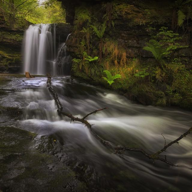 """Sgwd Ddwli Isaf waterfall South Wales"" stock image"