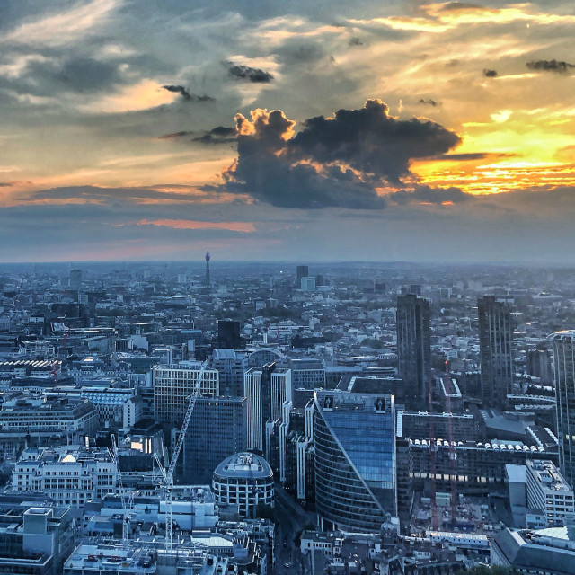 """London at dusk"" stock image"