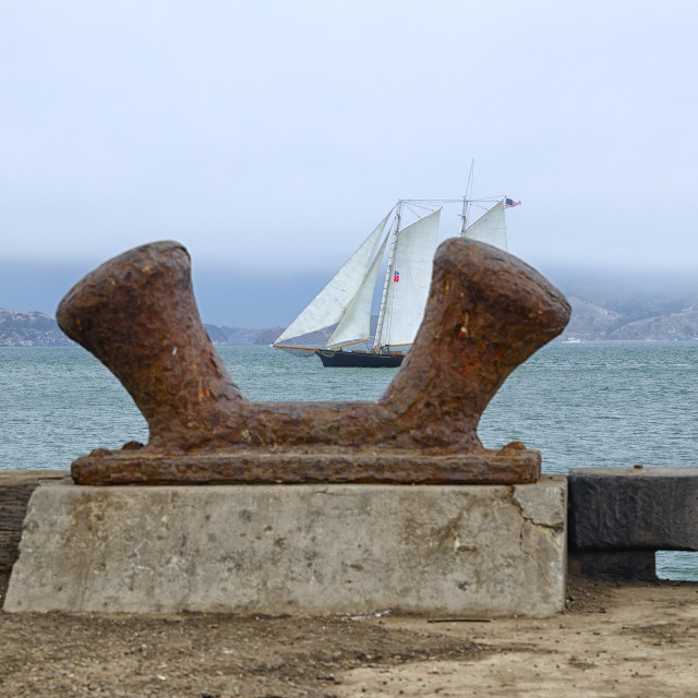 """Sailboat in the San Francisco Bay"" stock image"