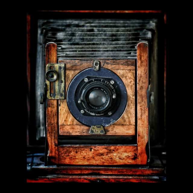 """Old Plate Camera used by press photographers around the early 20th century ..."" stock image"