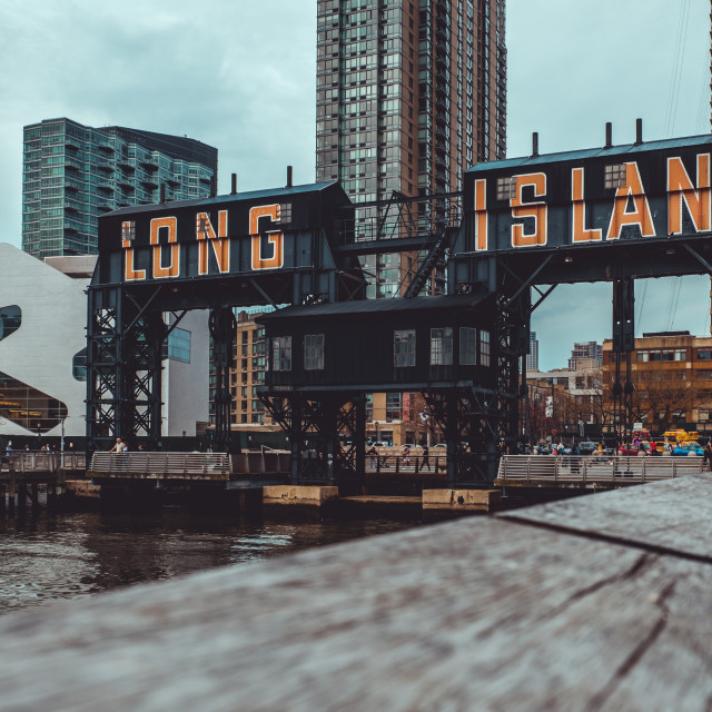 """""""Gantry cranes in Gantry Plaza State Park on the Long Island City"""" stock image"""