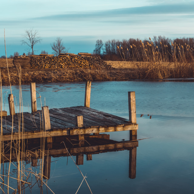 """""""Wooden floating dock on a pond"""" stock image"""