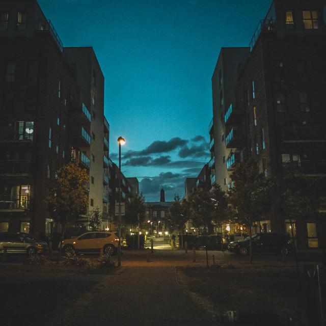 """Post Urban sunset"" stock image"