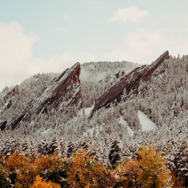 """The flatirons Boulder"" stock image"