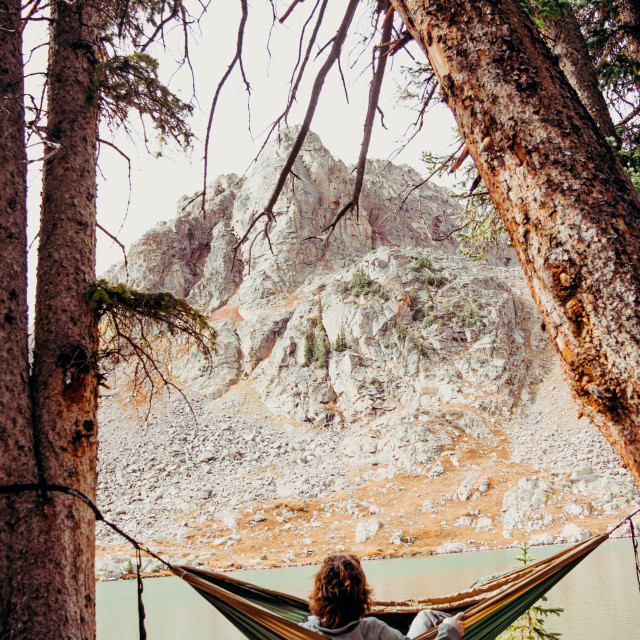 """Hammocking in the mountains"" stock image"