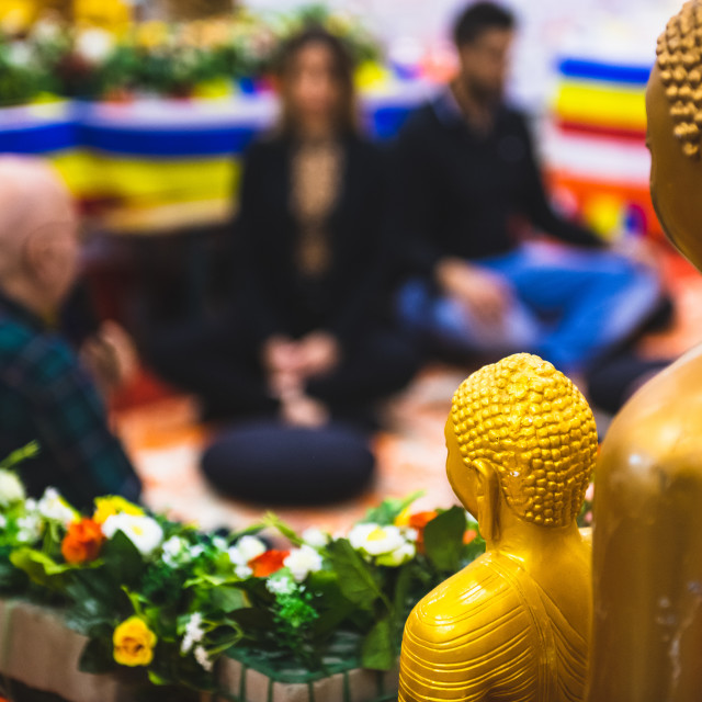 """Buddhism spirituality people in meditation center"" stock image"