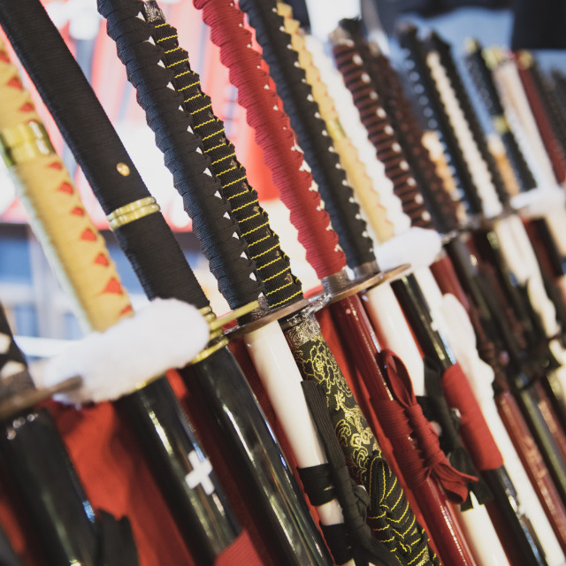 """Katana swords handle raw aligned detail in shop"" stock image"