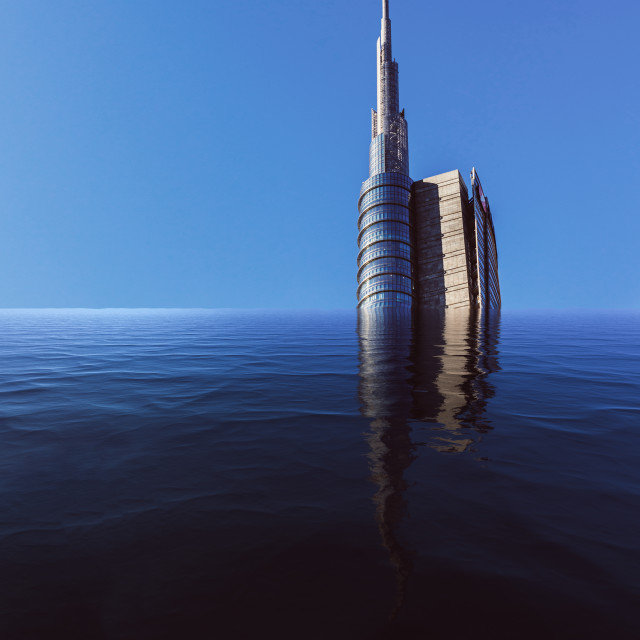 """""""Digital manipulation of flooded skyscraper with copy space"""" stock image"""