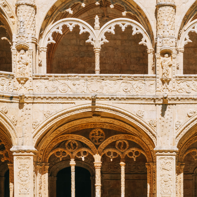 """Jeronimos Hieronymites Monastery Of The Order Of Saint Jerome In Lisbon, Portugal Is Built In Portuguese Late Gothic Manueline Architecture Style"" stock image"