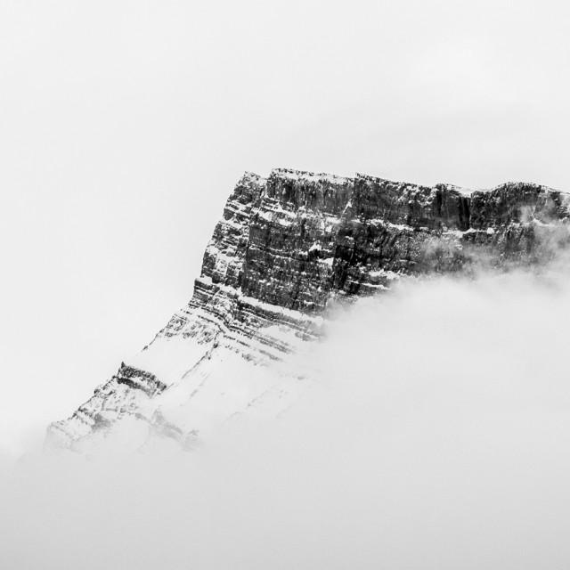 """""""Rundle Peak encased in cloud"""" stock image"""