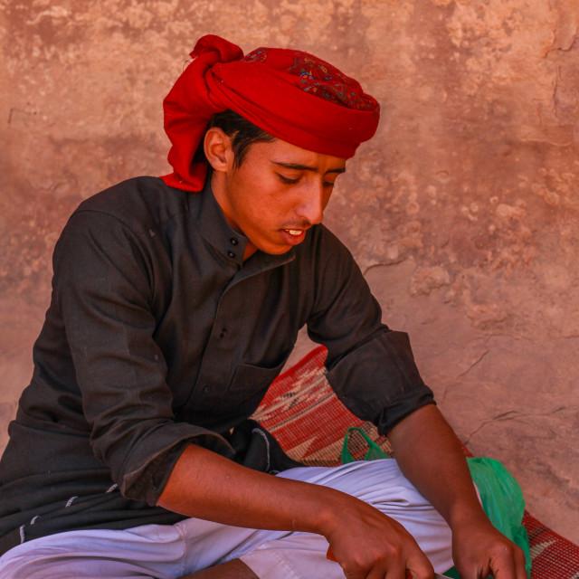 """""""Bedouin preparing lunch in the desert"""" stock image"""