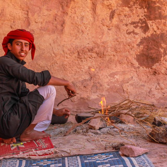"""""""Bedouin cooks in the desert"""" stock image"""