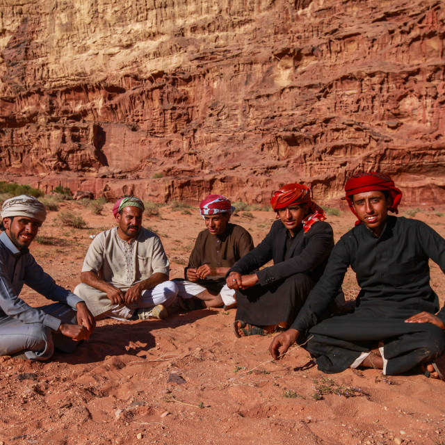 """Beduine men in the Wadi Rum Desert"" stock image"