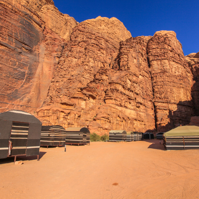 """Bedouin tourist camp in Wadi Rum Desert"" stock image"