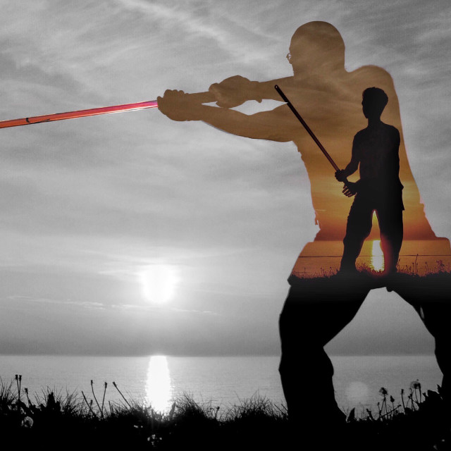 """""""Lightsabers at sunset pt 3"""" stock image"""