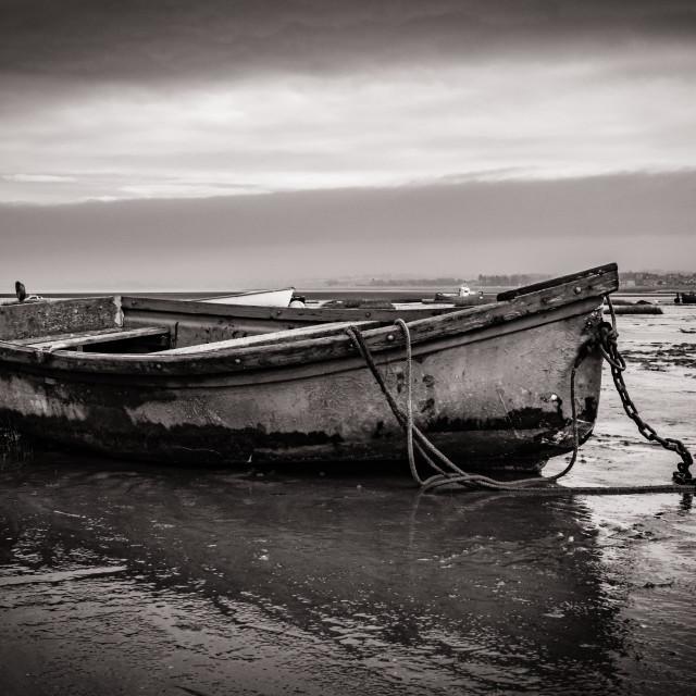 """""""Moored boats, Morecambe Bay No2"""" stock image"""