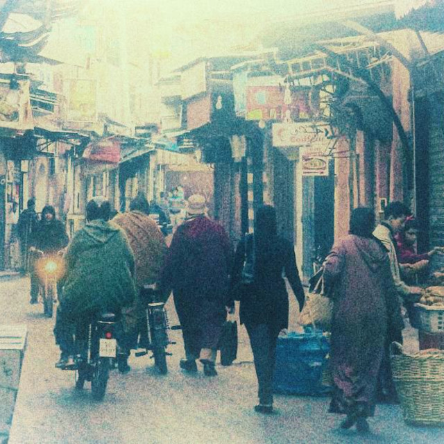 """""""Busy Street in Marrakech, Morocco (Faded)"""" stock image"""
