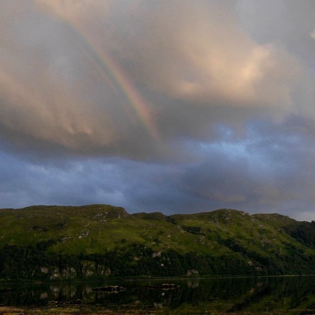 """""""A Rainbow in the Scottish Countryside"""" stock image"""