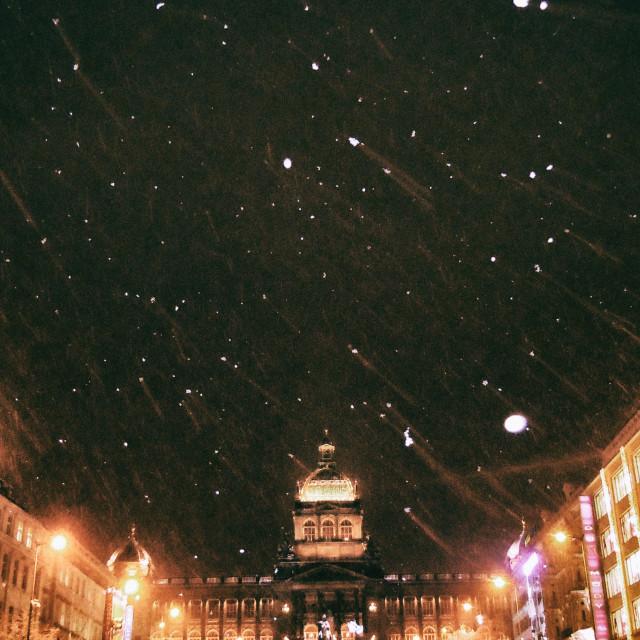 """Winter in Wenceslas Square, Prague"" stock image"
