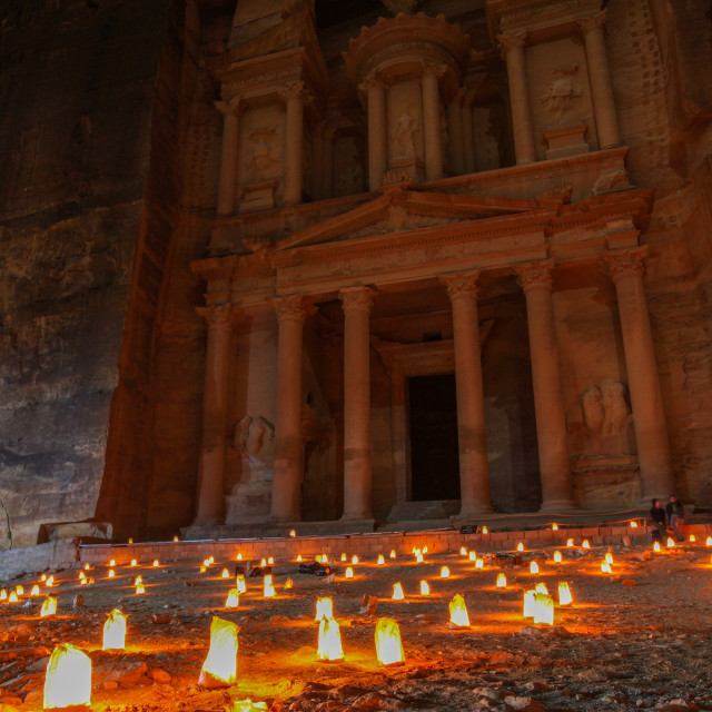 """The Petra Treasury at Night"" stock image"