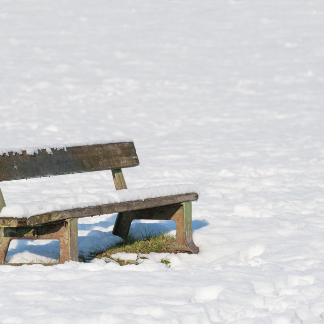 """""""snow covered park bench"""" stock image"""