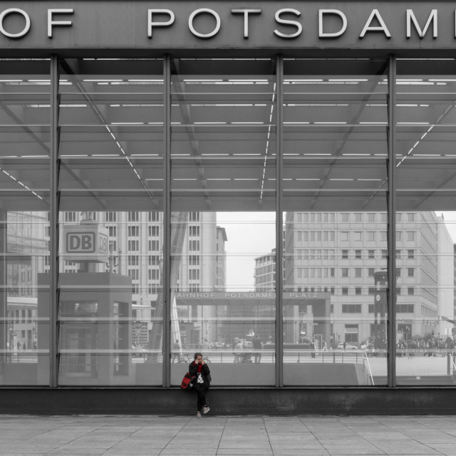 """Lone figure at Potsdamer Station, Berlin"" stock image"